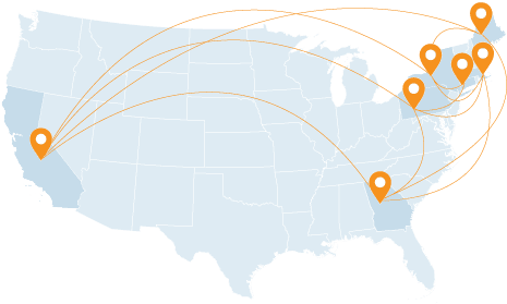 Map of US and locations across the country connected
