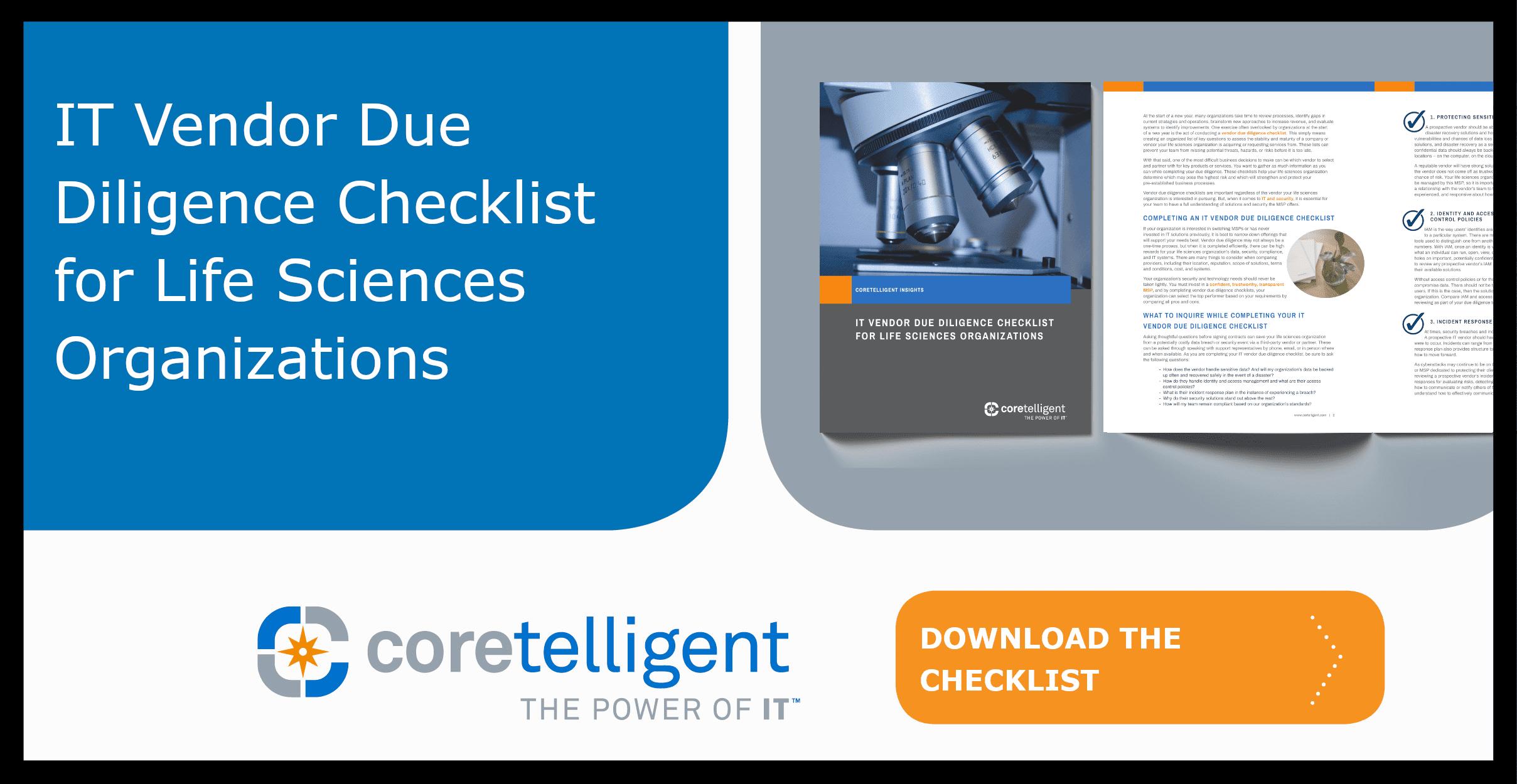 IT Vendor Due Diligence Checklist for Life Sciences Organizations